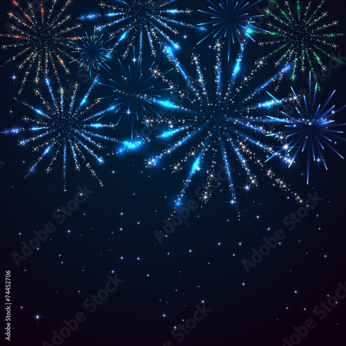 Fireworks on sky background Wallpaper Mural