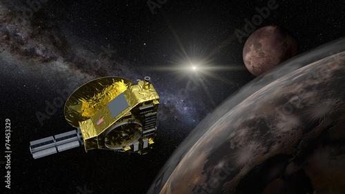 Deurstickers Nasa New Horizons space probe - Pluto flyby in action