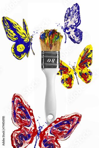 Tuinposter Vormen Red blue yellow butterflies flying above paintbrush