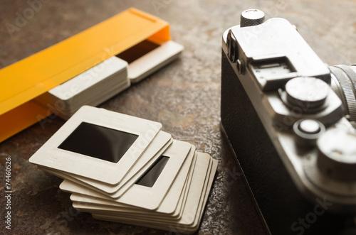 Fotografie, Obraz  古いカメラとスライド
