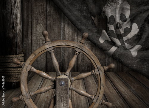 Tuinposter Schip Pirates ship steering wheel with old jolly roger flag