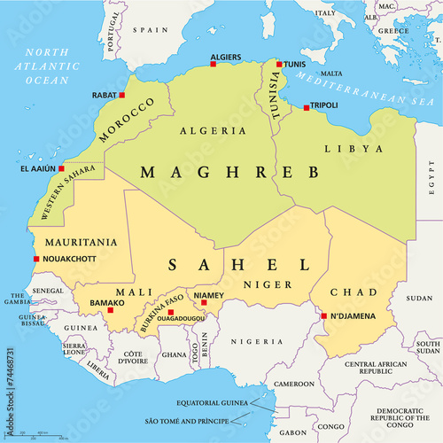 Cuadros en Lienzo Maghreb and Sahel Political Map