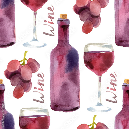 Cotton fabric watercolor wine seamless