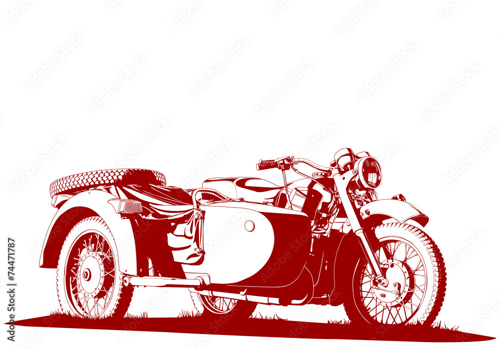 Fototapeta motorbike sidecar illustration