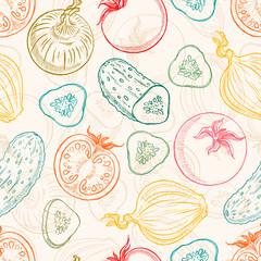 Tapeta seamless sketch vegetables