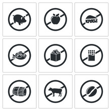 Prohibiting Signs Vector Icons...