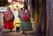 Leinwanddruck Bild - Bolivian people in city