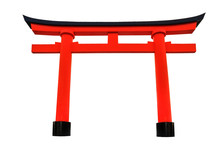 Japanese-Styled Red Arch (Torii) Isolation