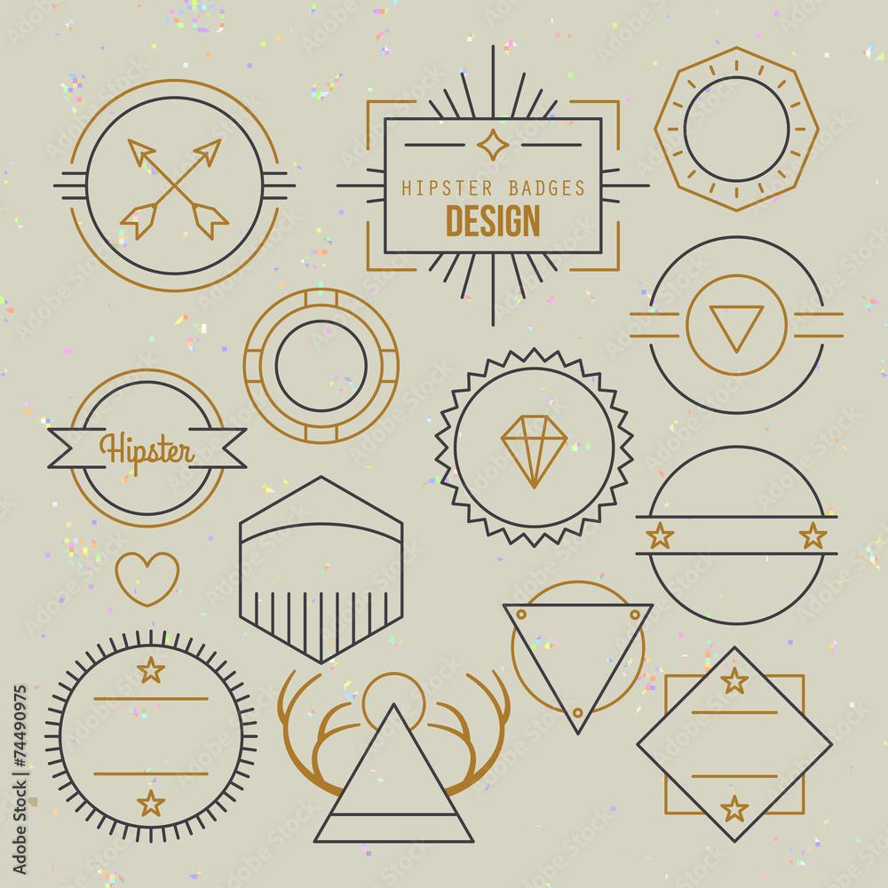 Fototapeta Hipster outline badges and emblems template for logo design