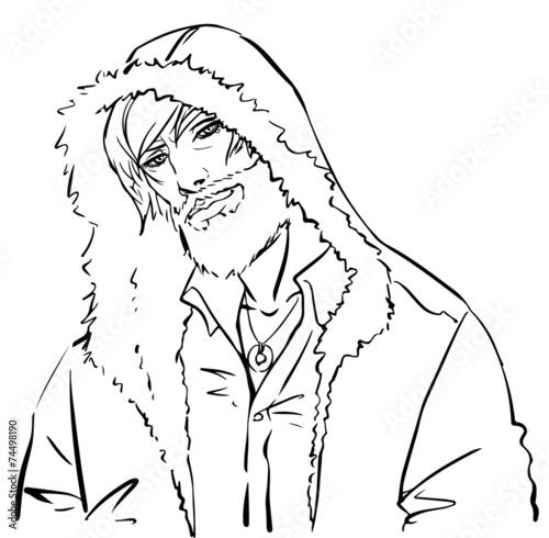Canvas Prints Illustration Paris A handsome man in a hood