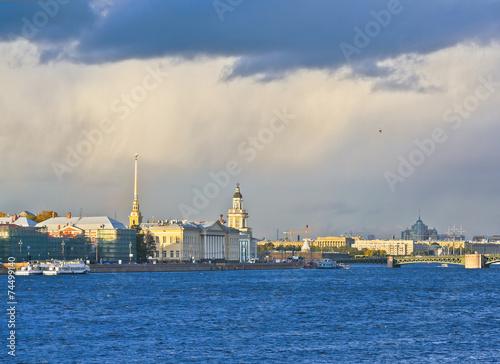 Photo  Neva river and Vasilevsky Island. Saint-Petersburg, Russia