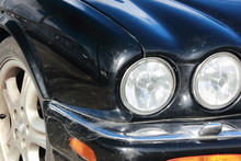 Black Car Bonnet And Round Headlights Jaguar Automobile