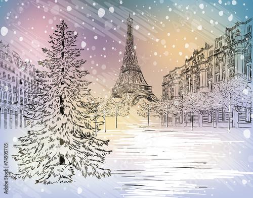 Winter day in Paris Canvas Print
