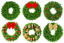 Christmas Wreath Undecorated And Decorated With Ornaments
