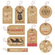 10 Kraft Paper Christmas Gift Tags