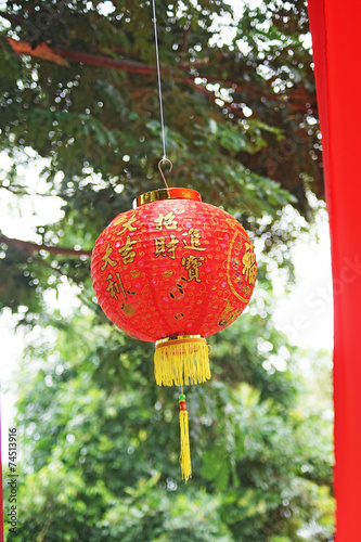 Photo  Red chinese lantern on green bokeh background