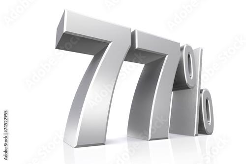 Fotografie, Obraz  3D render text in 77 percent in silver.