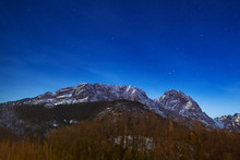 Giewont In Tatra Mountains At Night. Sleeping Knight, Poland