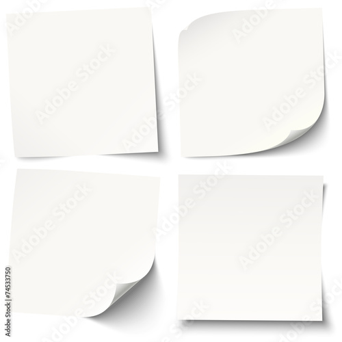 Obraz white sticky notes with different shadows - fototapety do salonu