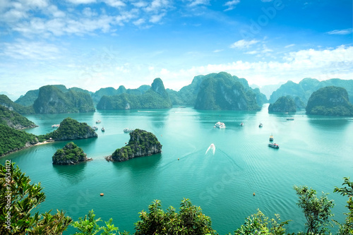 Recess Fitting Blue Halong Bay in Vietnam. Unesco World Heritage Site.