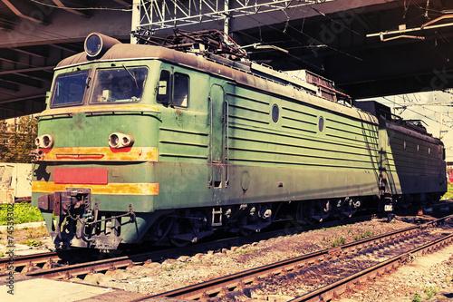 Keuken foto achterwand Vintage cars Green modern Russian locomotive with red stripes on cabin