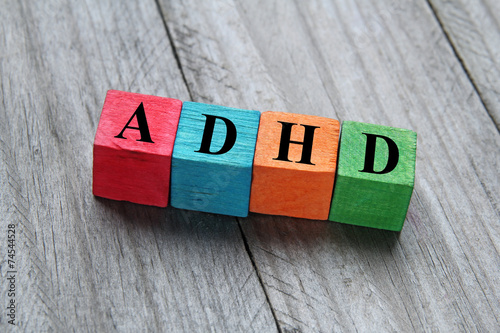 concept of ADHD on colorful wooden cubes Wallpaper Mural