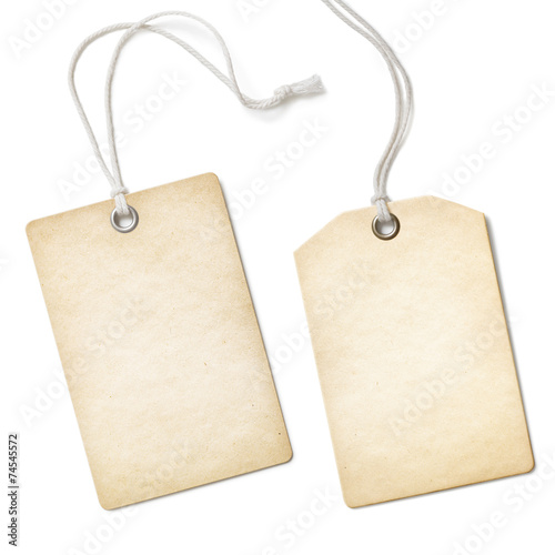 Fotografia  Blank old paper cloth tag or label set isolated on white