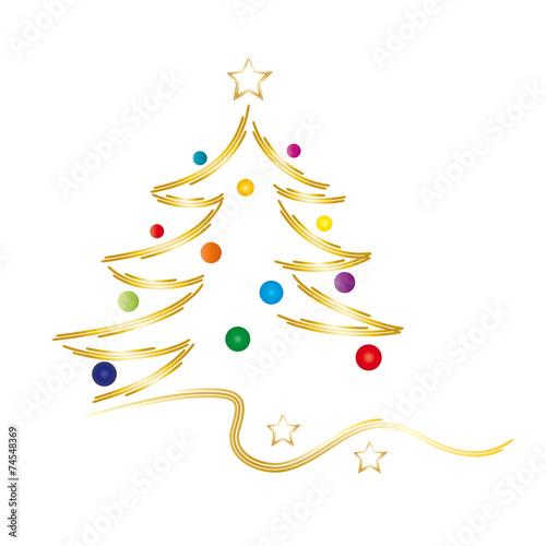 Goldener Weihnachtsbaum Frohe Weihnachten   Goldener Weihnachtsbaum mit bunten Kugeln