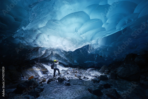 Glaciers ice cave in alaska