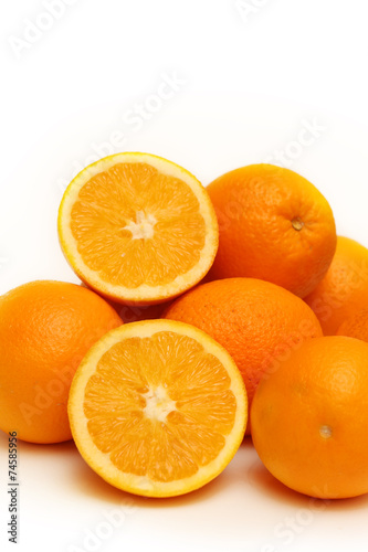 Spoed Foto op Canvas Plakjes fruit Group of oranges isolated on white background