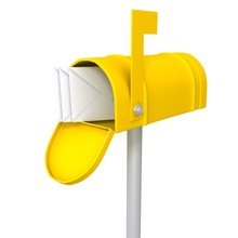 Yellow Mailbox With Envelopes