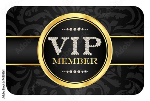 Fotografía  VIP member badge on black card with floral pattern