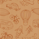 Sketches means of transport, vintage vector seamless pattern