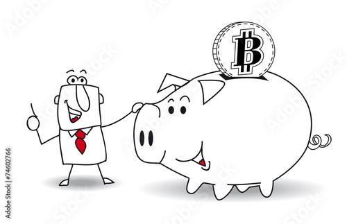 Piggy bank and bitcoin Wallpaper Mural