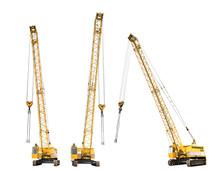 Set Of Construction Yellow Crawler Cranes Isolated