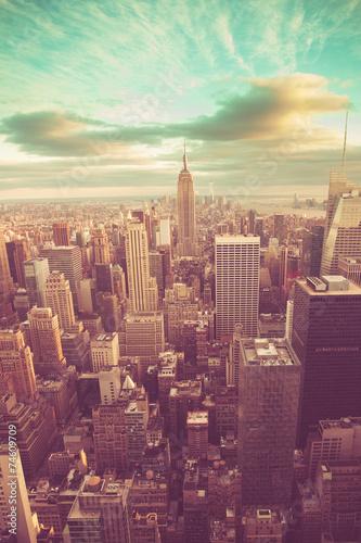 Manhattan with vintage tone Tablou Canvas