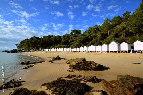 Fotografia ciel bleu et cabines de bain Noirmoutier
