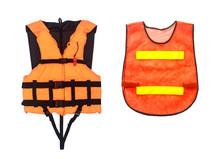 Orange Life Jacket  And Orange Vest  Isolated On White, Clipping