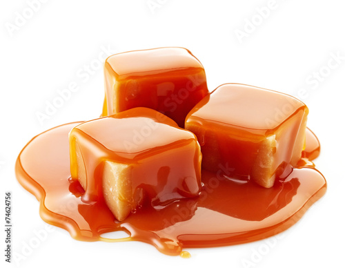 Photo sur Aluminium Dessert caramel candies and caramel sauce