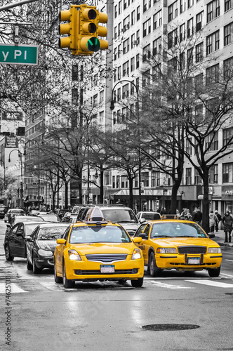 New York yellow taxi cabs Wallpaper Mural