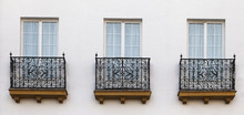 Balconies Of A House In Seville