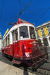 vintage famous red electrical tram
