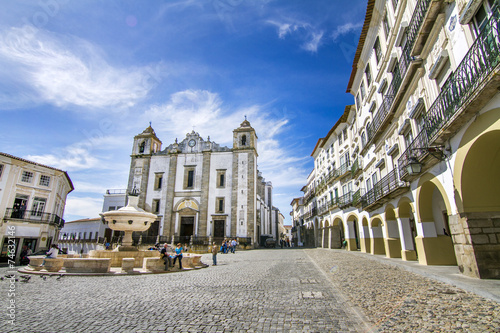 View of the Giraldo square located on Evora, Portugal. Canvas Print