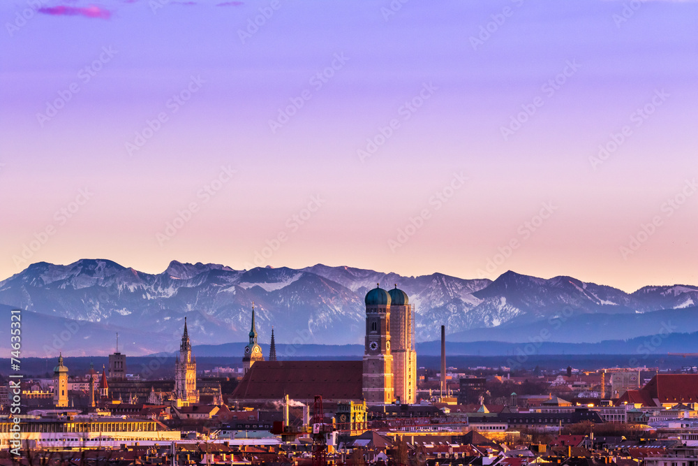 Fototapety, obrazy: Munich Alps sunset