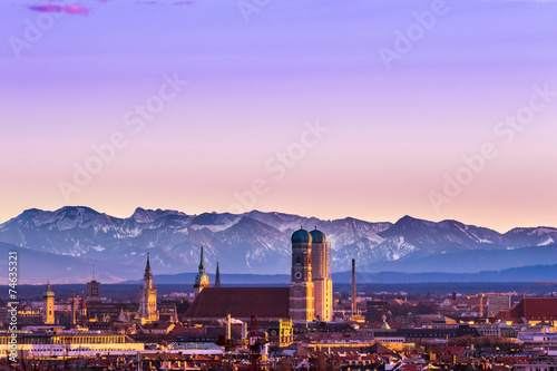Fotobehang Alpen Munich Alps sunset
