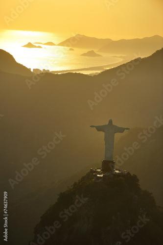 Fotografie, Obraz  Aerial view of Christ on Corcovado Hill, Rio de Janeiro, Brazil