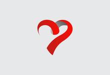 Love Ribbon Abstract Vector Logo