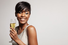 Pretty Woman With A Champagne