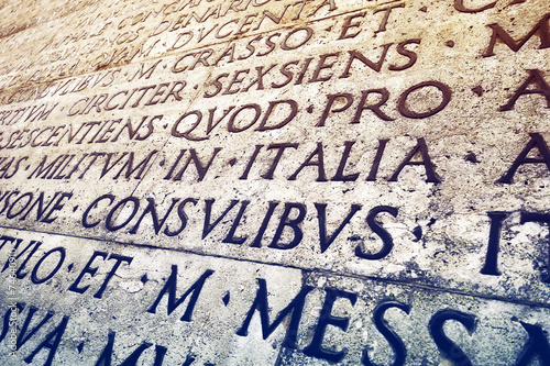 Fototapeta Latin inscription in Rome, Italy