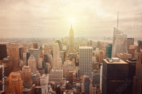 plakat Panoramę Nowego Jorku z retro efekt filtra